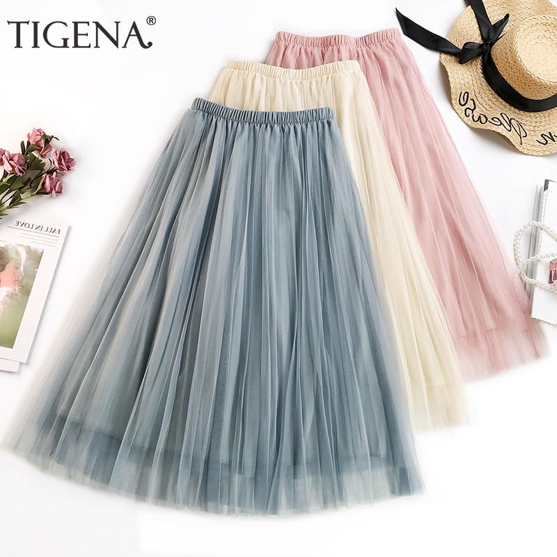 TIGENA Basic Midi Long Tulle Skirt Women 2019 Summer Korean Fashion A line High Waist Pleated Skirt Female Pink Tutu Sun Skirt-in Skirts from Women's Clothing