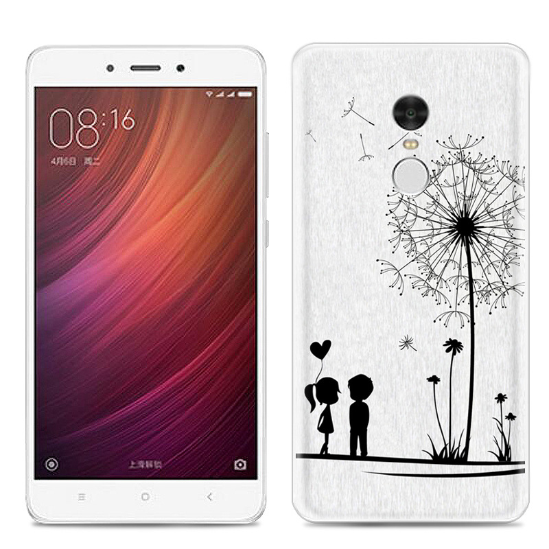 phone case drawing simple line painting dandelion xiaomi cases redmi tpu printing soft note