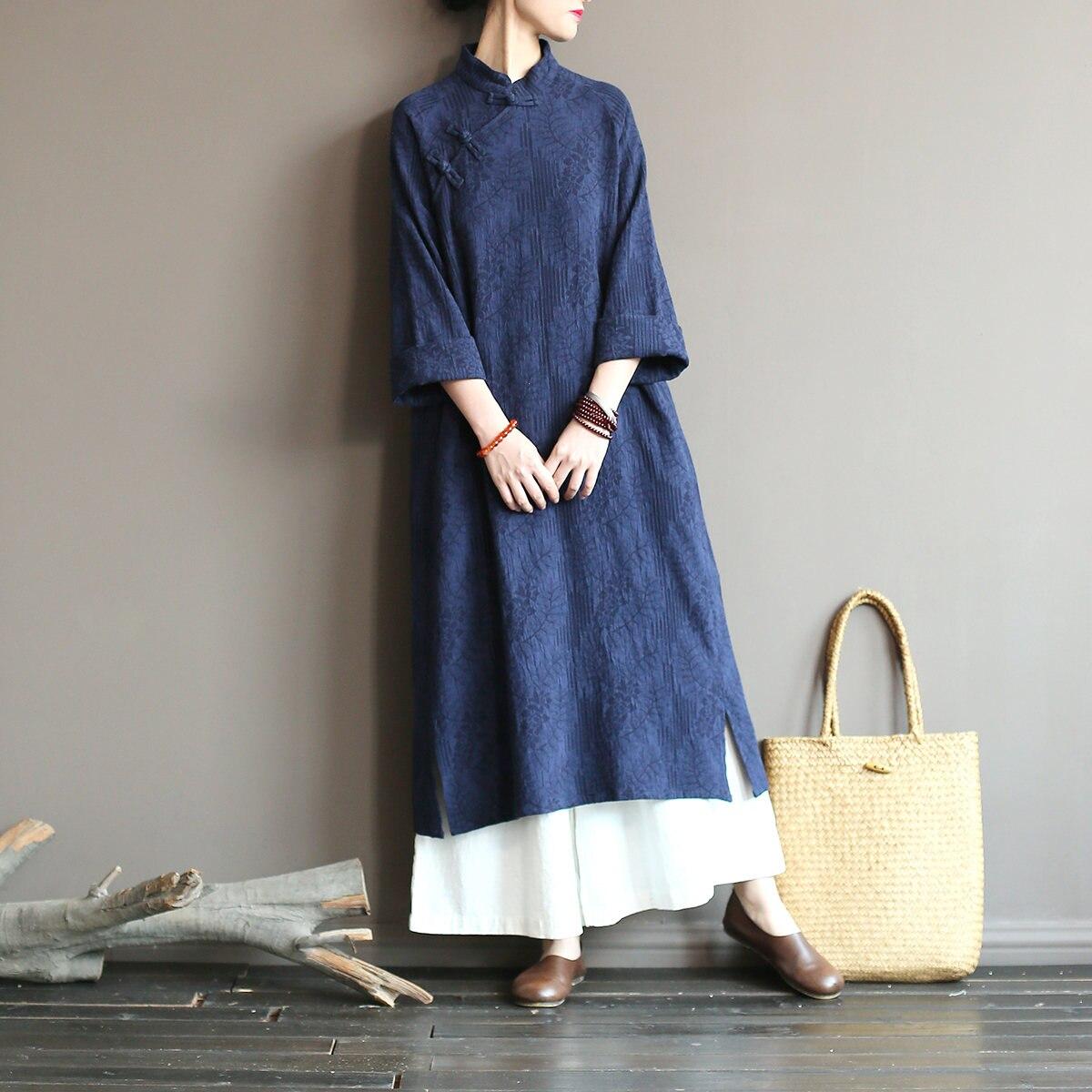 Johnature Neue 2021 Frühling Vintage Platte Schnalle Einfarbig Baumwolle Leinen Robe Kleider Volle Hülse Stehkragen Frauen Kleider
