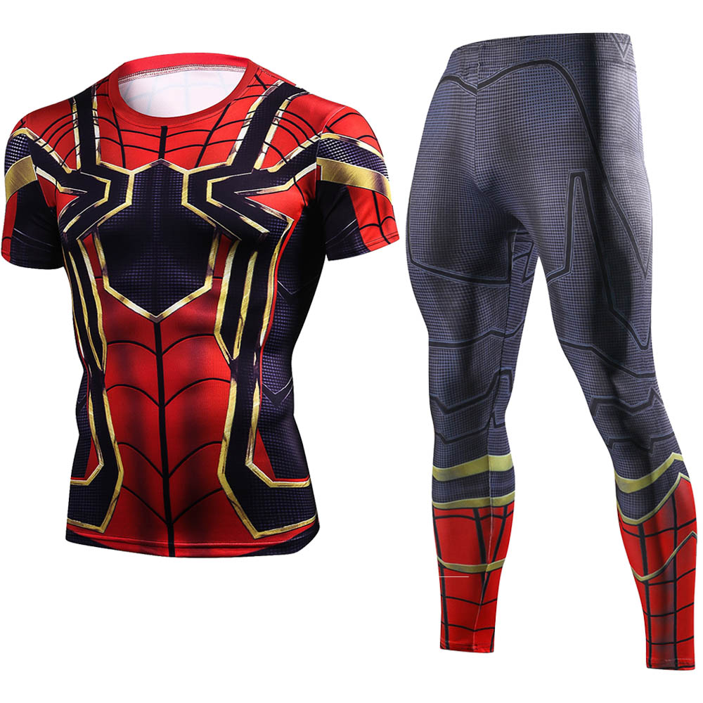 2018 New Iron spider spider-man tshirt Sets Men Tracksuit Fashion Superman 3d Print Fitness With short sleeves t shirt Suits