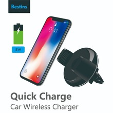 Bestins Car Air Vent Mount Qi Wireless Charger For iPhone X 8 for Samsung Note S8 Edge Fast Charging Phone Holder
