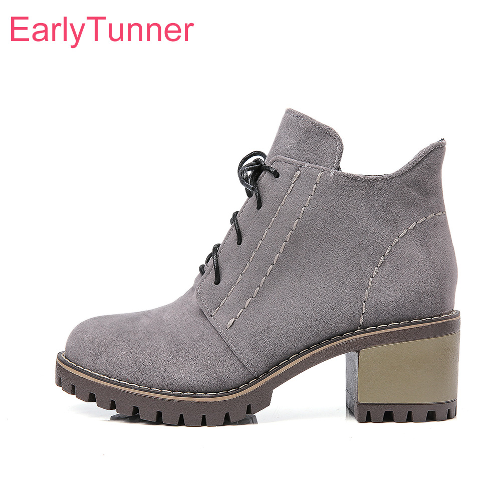 Brand New Comfortable Army Green Red Women Ankle Combat Boots Gray Lady Riding Shoes Chunky Heel EL908 Plus Big size 32 43 10 brand new sexy women motorcycle boots black red beige white lady ankle riding shoes fashion nude heels ay902 plus big size 43 48