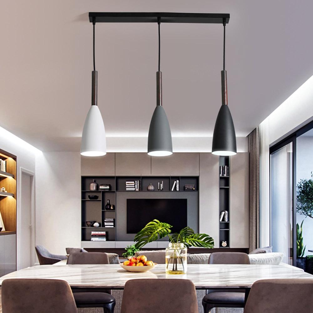 Moderne nordique Designer bois blanc noir vert pendentif lumière suspension lampe pour salon Loft décor cuisine salle à manger chambre