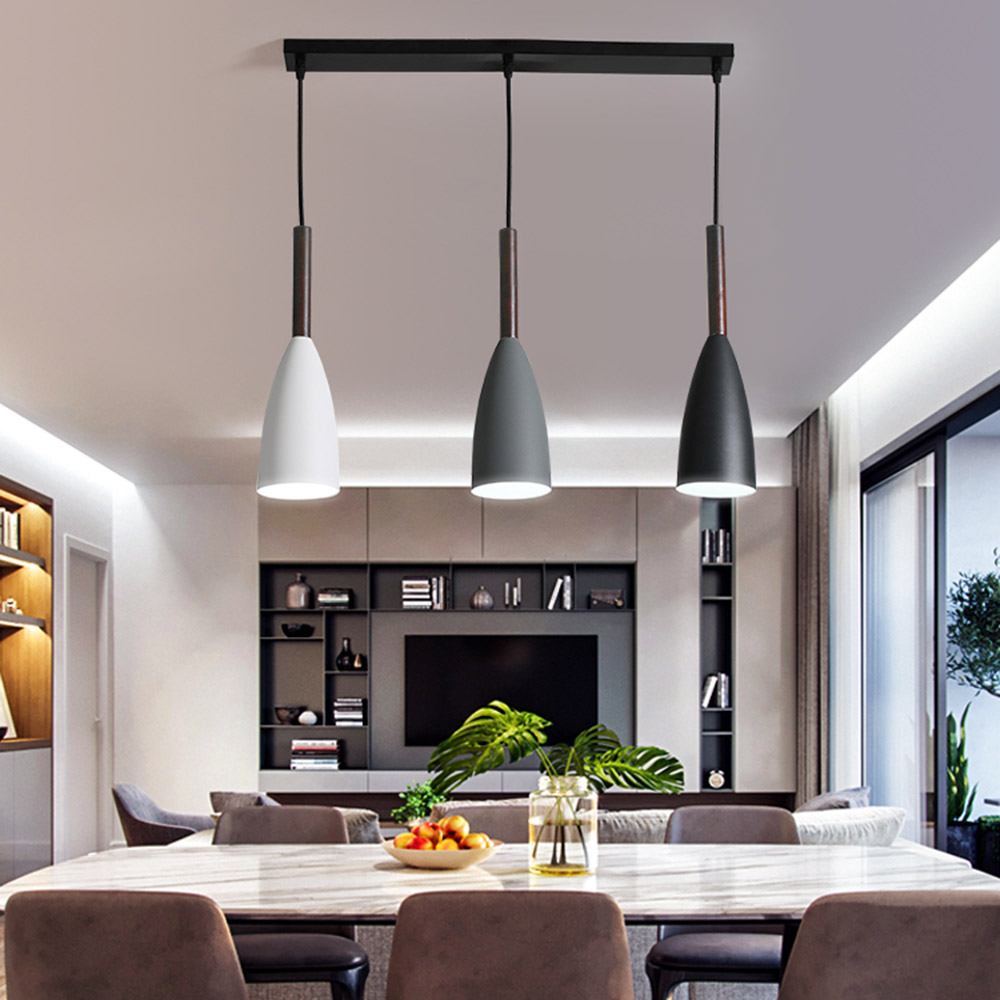 US $29.3 51% OFF|Modern Nordic Designer Wood White Black Green Pendant  Light Hanging Lamp for Living Room Loft Decor Kitchen Dining Room  Bedroom-in ...