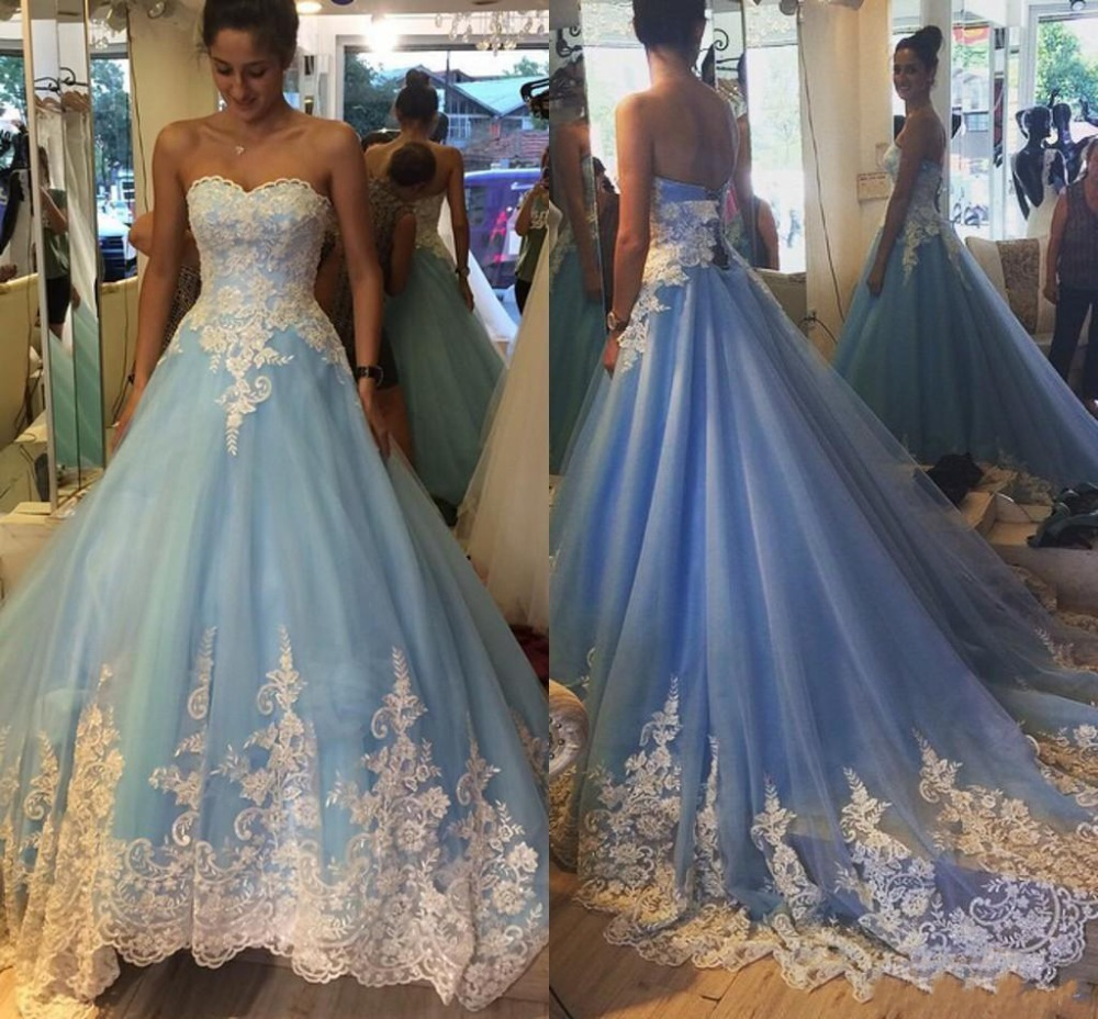 2017 elegant white and blue wedding dresses sweetheart for Blue silver wedding dress