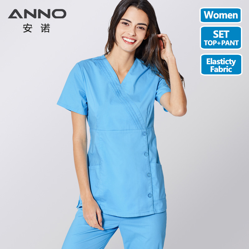 ANNO Nurse Uniform Blue Medical Scrubs Set Doctor Suit For Women Hospital Clinic Cloths Surgical Dress With Adjust Waist Button
