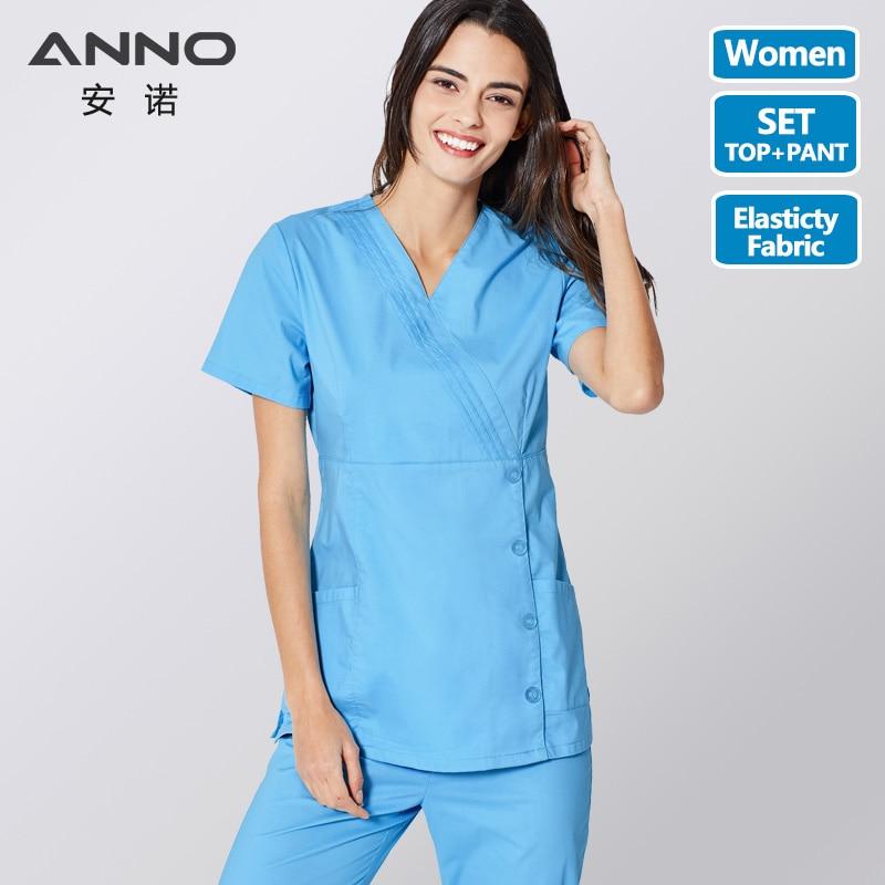 ANNO Nurse Uniform Blue Medical Scrubs Set Doctor Suit For Women Hospital Clinic Cloths Surgical Dress With Adjust Waist Button