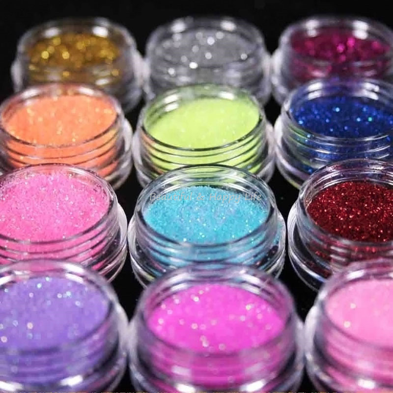 Hot 12 Color Set Colorful Acrylic Powder Nail Pigments For Nails Art Glitter Polish Pigment Tool Nagel Poed In From Beauty