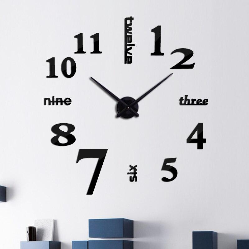 DIY acrylic mirror wall clock 3d big quartz watch still life modern clocks living room home decoration stickers in Wall Clocks from Home Garden