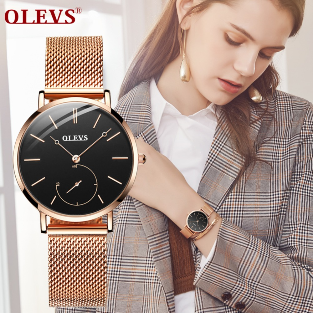 Reloj Mujer Fashion Wrist Quartz Watch Women Black Casual Ladies Dress Watches Rose Gold Mesh Stainless Steel Female Clock Uhr 2018 women dress watches luxury brand ladies quartz watch stainless steel mesh band casual gold bracelet wristwatch reloj mujer