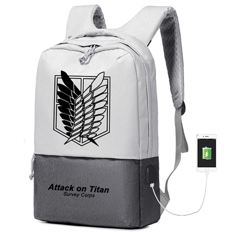2018 Hot Anime Attack on Titan Survey Corps Printing Backpack USB Interface Laptop Backpack Canvas School Bags Travel Backpack attack on titan freedom wings emblem printing korean japanese style school backpack anime backpacks ab197