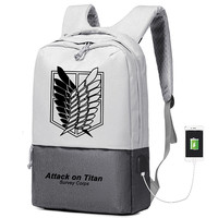 Hot Anime Attack on Titan Survey Corps Printing Backpack USB Interface Laptop Backpack Canvas School Bapack Travel Backpack