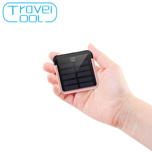 Travelcool SolarPower Bank 5000mAh Digital Display Solar Battery Pack Mini Power Bank Powerbank Usb Type-c Solar Powerbank Cable