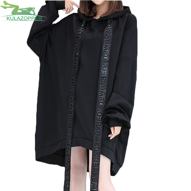KULAZOPPER Autumn winter New large size Women Hooded Sweatshirts irregular personality l ...