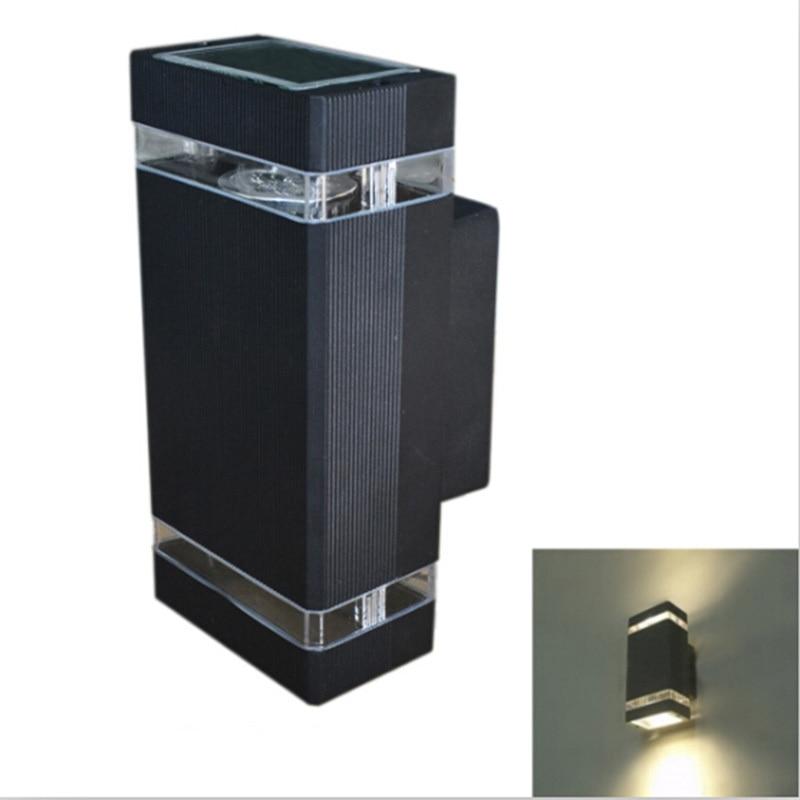 ФОТО 4pcs outdoor porch lighting 8W GU10 Outdoor Wall Mount Light Alumunim Up and Down Wall Lamps Waterproof IP54 Black/Grey/White