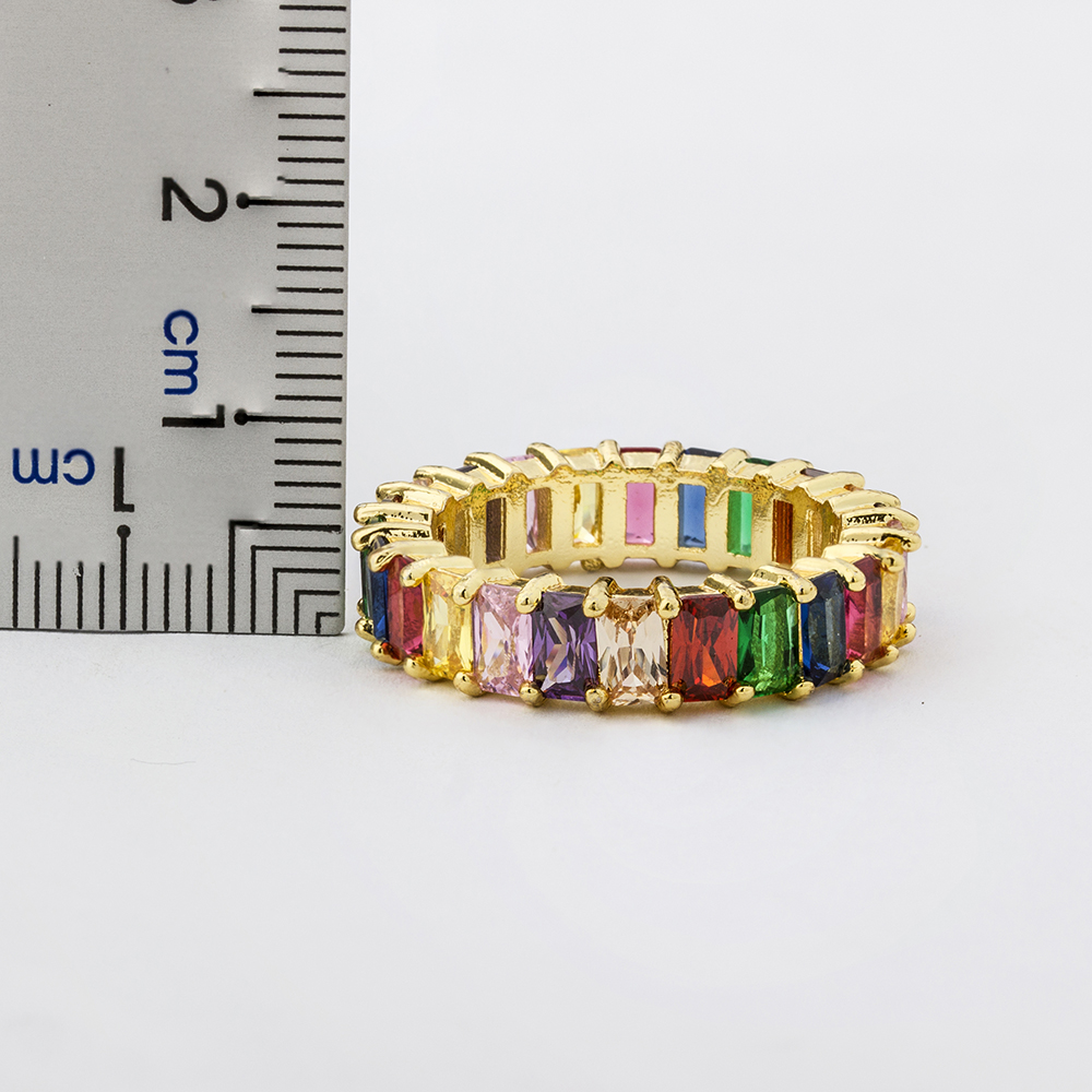 Hot Sale Thin Baguette Rainbow CZ Gold Ring For Women Fashion Engagement Wedding Band Top Quality Charm Jewelry 5