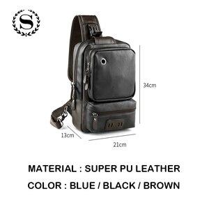 Image 3 - Мужские кожаные рюкзаки Scione, модные уличные деловые повседневные водонепроницаемые сумки через плечо с разъемом для наушников