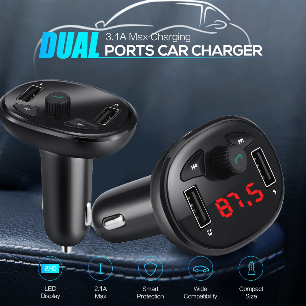 universal Car MP3 Bluetooth Player Music Player FM Transmitter Dual USB Car U Disk High Speed USB2.0 3.1A Orange LED screen