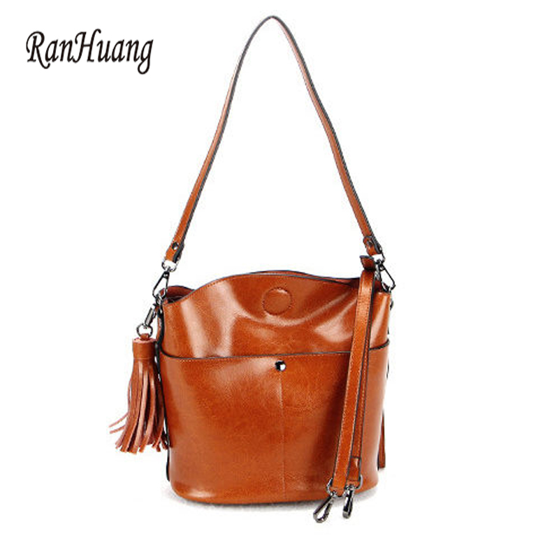 RanHuang New 2018 Women Genuine Leather Handbags Fashion Bucket Bag Ladies Luxury Shoulder Bags Designer Messenger Bags Brown fashion leather handbags luxury head layer cowhide leather handbags women shoulder messenger bags bucket bag lady new style