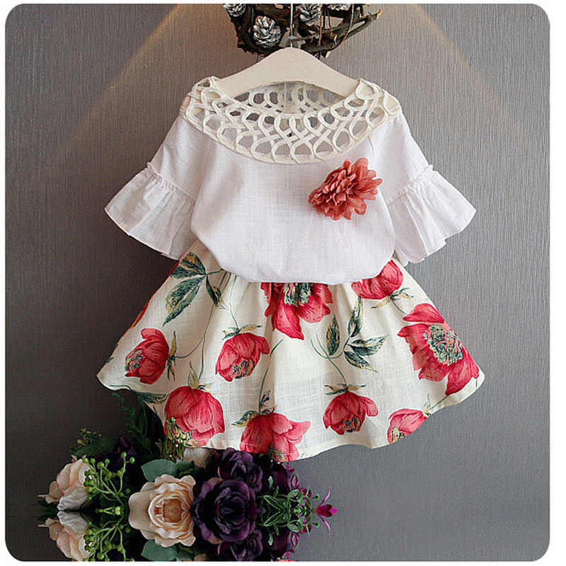 BibiCola Lady Summer season Garments Child Ladies Clothes Units 2pcs Kids Summer season Garments Set Youngsters High + Floral Skirt Gown Go well with Set ladies clothes units, clothes...