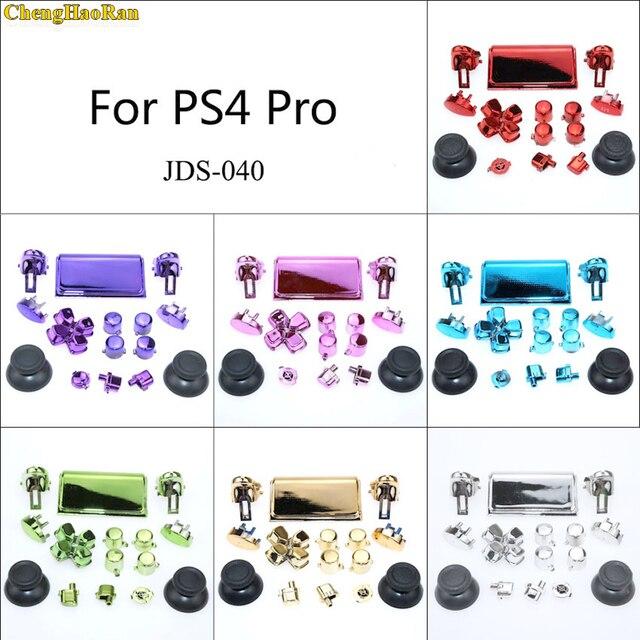 1 Bộ 7 Màu Chrome Cần Điều Khiển D Miếng Lót R1 L1 R2 L2 Full Bộ Hướng Chìa Khóa ABXY Nút sony PS4 Pro JDS 040 JDM 040 Bộ Điều Khiển