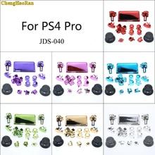 1 conjunto de 7 cores chrome joysticks d pad r1 l1 r2 l2 conjunto completo direção chave botões abxy para sony ps4 pro JDS 040 JDM 040 controlador
