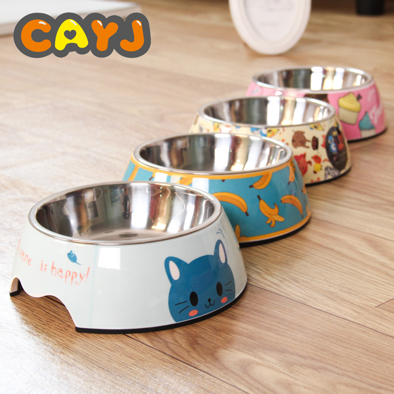 2019Wholesale Stainless Steel Dog Bowl Food Double Melamine Pet Feeding Water Cat Supplies