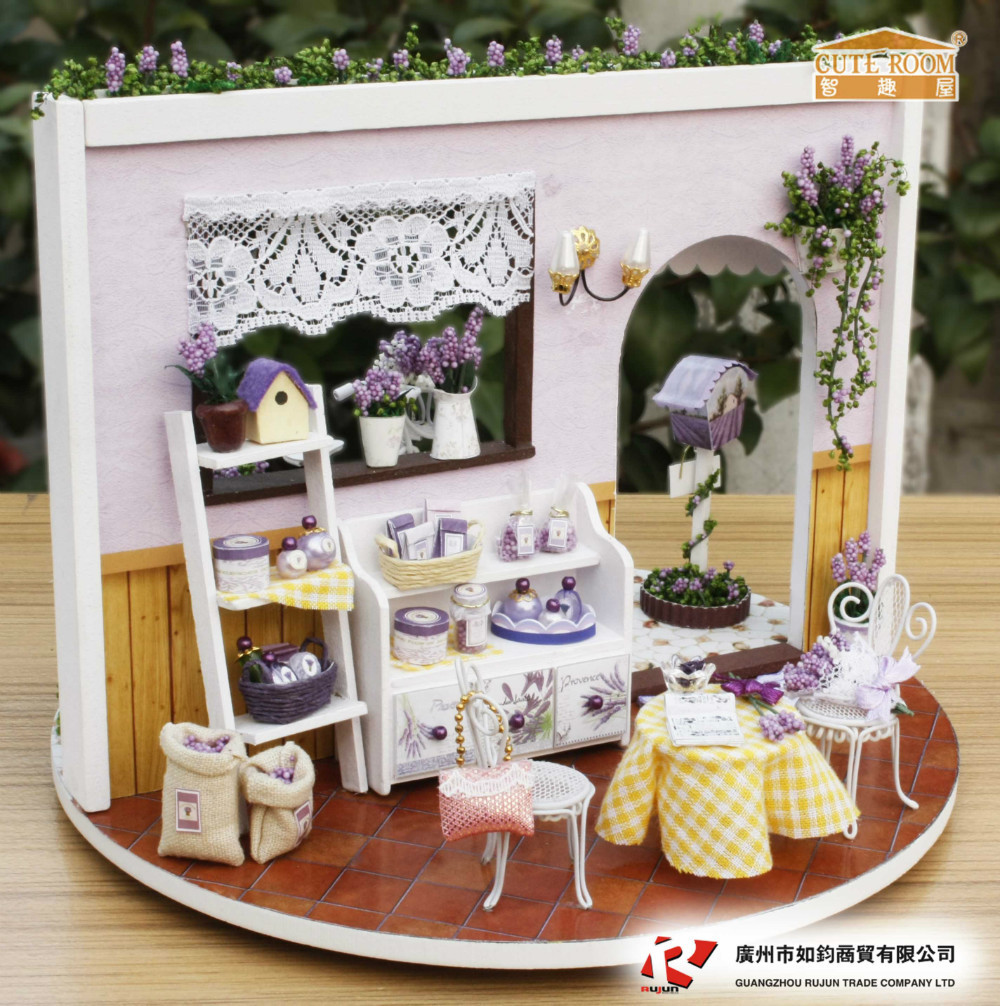 Diy Doll House Model Building 3d Miniature Lavender Can Rotate 360