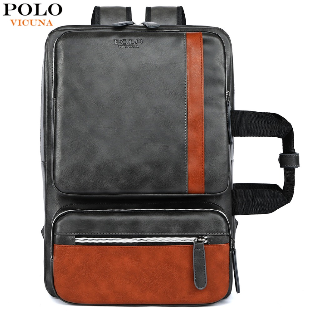 VICUNA POLO Leather Multifunctional Male Business Backpack Bag For Laptop Large Capacity Travel Men Bags Casual Man Backpack