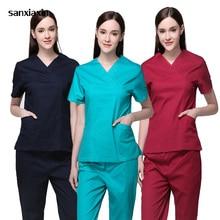 Sanxiaxin униформа для сотрудниц спа-салонов больничный медицинский скраб комплект одежды стоматологическая клиника и салон красоты для ролевых игр, медсестра, мода Slim Fit хирургические