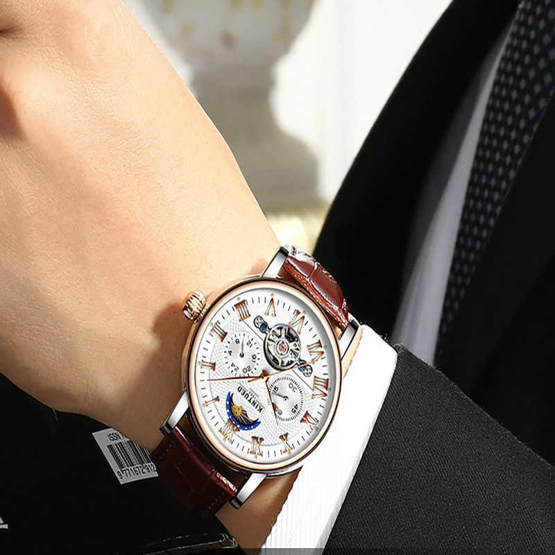 KINYUED Chronograph Flying Tourbillonนาฬิกาอัตโนมัติชายดวงจันทร์เฟสMechanical Skeletonนาฬิกาmontre Homme erkek Kol saati