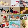 Lindo!! 2017 nueva suave bebé recién nacido accesorios de fotografía del bebé sombrero bebé cap conjunto ropa infantil recién nacido trajes de ganchillo para las niñas/niños