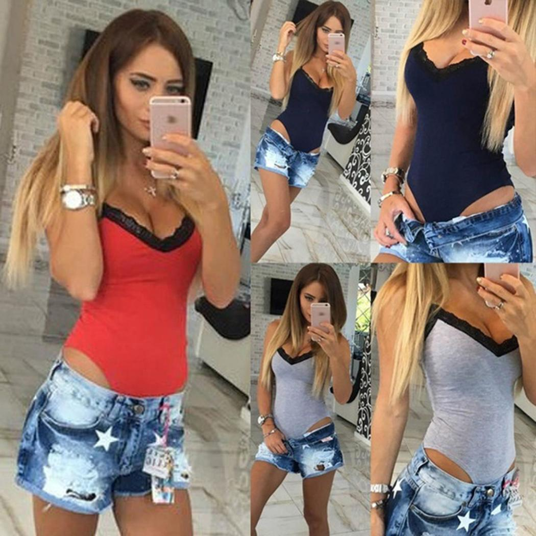 Women Hot Bodysuit Stretch Lace Sleeveless Body V Neck Slim Solid Tops Slim Casual Fashion Jumpsuit(China)