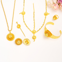Big Ethiopian Bridal Wedding Gold Jewelry Set Necklace Hair Piece Bangle Hair Pin Earrings Ring