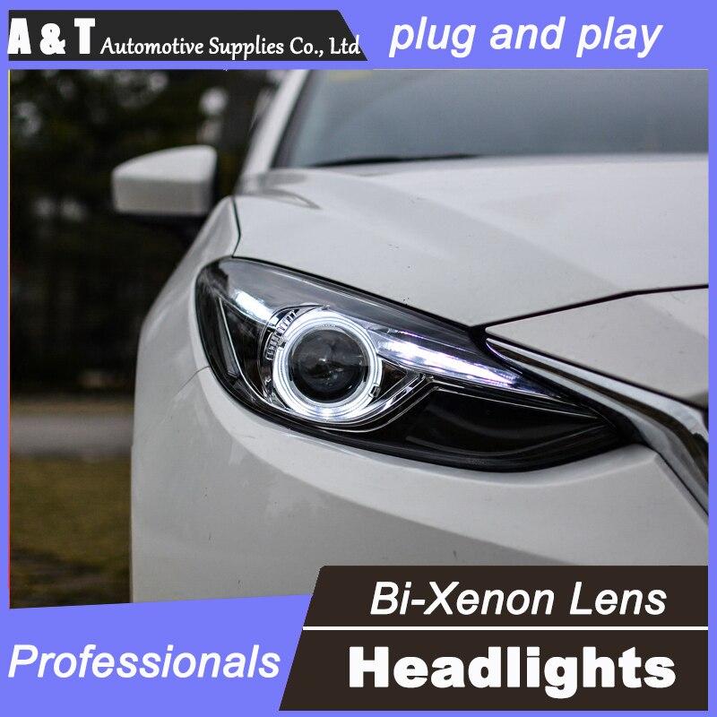 car styling For Mazda3 Axela headlights U angel eyes DRL 2014 For Mazda3 Axela LED light bar DRL Q5 bi xenon lens h7 xenon brand new superb led cob angel eyes hid lamp projector lens foglights for mazda 3 axela 2014