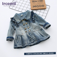 2017 Spring Autumn Girl Jeans Jacket Dress For 2 7 Years Old Long Sleeve Coats Cowboy
