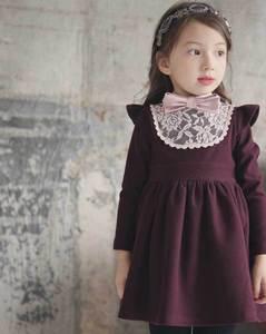 Image 2 - Зимние платья для маленьких девочек, хлопковые теплые платья принцессы для маленьких девочек, плотные кружевные платья для девочек с бантом