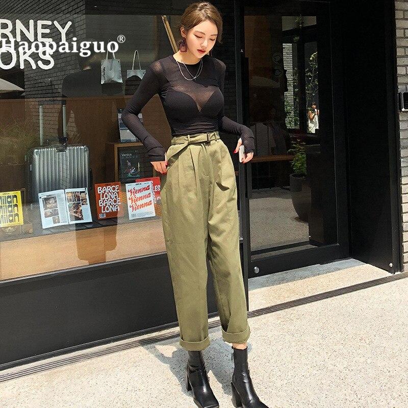 Military-Pants Two-Piece-Set Casual-Top Black Green Women O-Neck And Autumn Harajuku