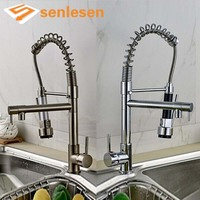 Wholesale And Retail Chrome Nickel Double Spout Pull Down Single Handle Brass Kitchen Mixer Taps
