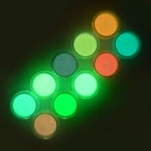 LCJ 10 шт голографический блеск светящийся блеск для ногтей порошок светится в темноте Пыль для ногтей маникюрный порошок для дизайна ногтей