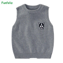 цена на Children Sweater Ribbed Vest Sweater for Boys Cartoon Sleeveless Sweater Girls 2018 Autumn Winter Knit Pullover Kids Clothes