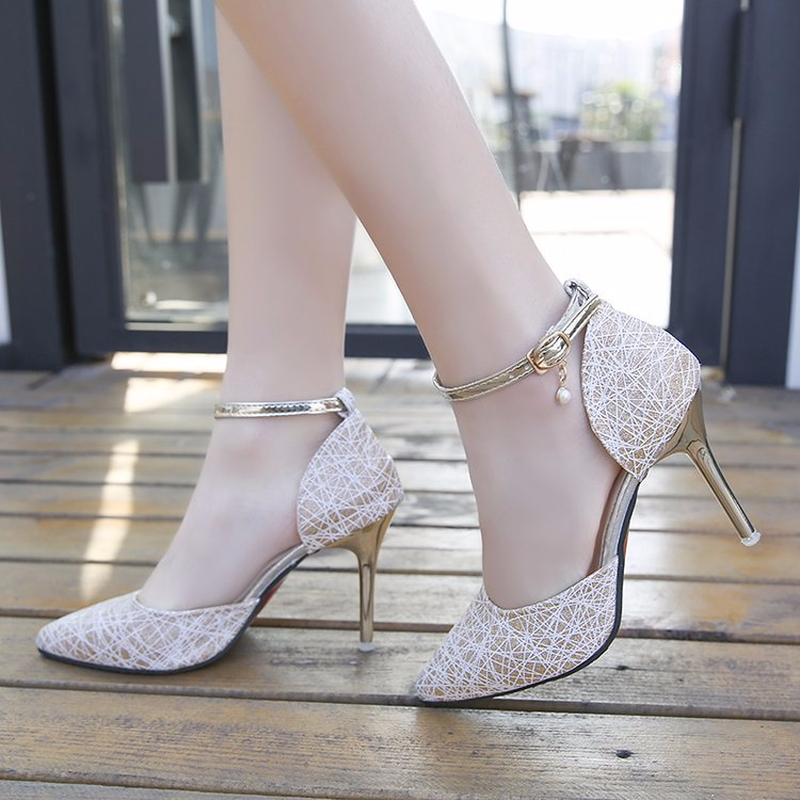 Korean Edition Fashion Top 2009 Summer New Sequins Fine heeled Pack and Cleaheels Sandals in High Heels from Shoes