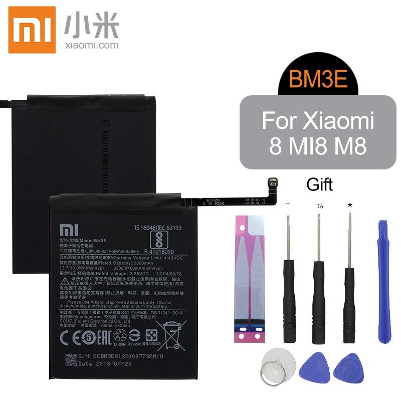 Xiao mi BM3E Original 3300 mah Alta Capacidade de Substituição Da Bateria Do Telefone de Alta Qualidade Para Xiao mi mi mi 8 M8 8 genuíno bateria + Ferramentas