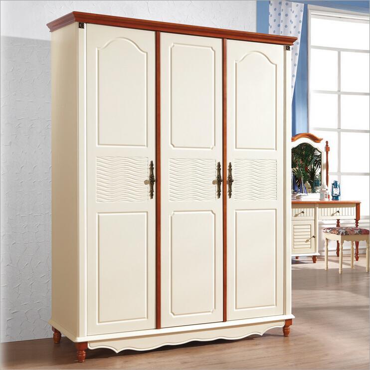 American Country Style Wood Wardrobe Closet Bedroom Furniture Three Doors Large Storage Closet P10253