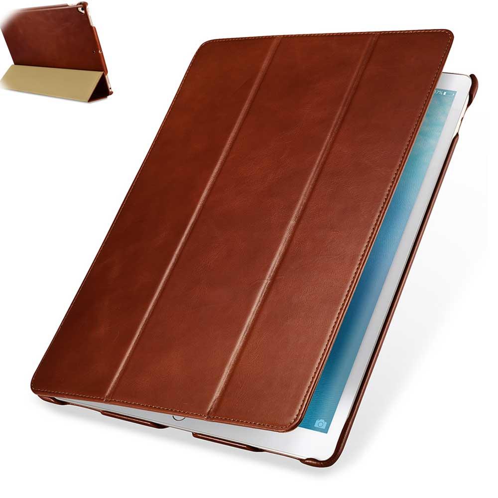 Étui rétro en cuir de vachette véritable pour nouvel iPad Pro 12.9 pouces 2017 mince affaires pliable Stand couverture intelligente pour Apple iPad Pro