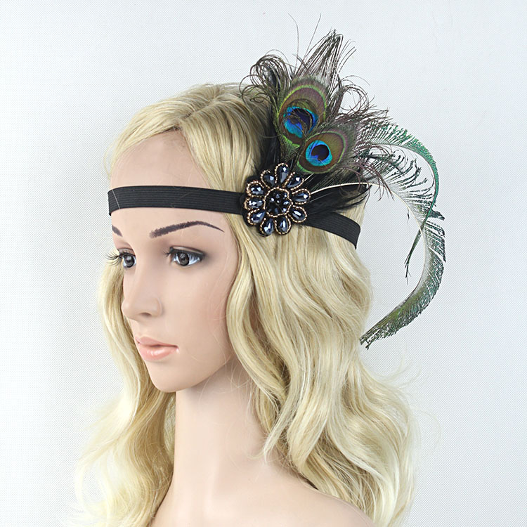 Vintage Sparkling Black Beaded Double Peacock Feathers Embellish Feather Headband 1920s Gatsby Flapper Girl Hair Band women s hats and fascinators vintage sinamay sagittate feather fascinator with headband tocados sombreros bodas free shipping