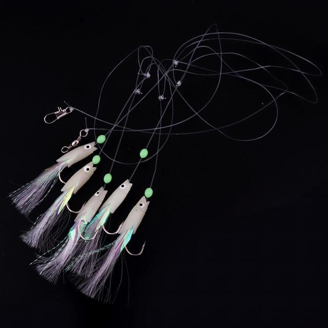 5 In 1 Luminous Sabiki Soft Fishing Lure Hook 1/0# 1# 2# 3# 4# Fishing String Hook During Dark Night Fishing Tackles