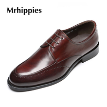 MRHIPPIES Men flat Fashion High Quality Genuine Leather Men font b Oxfords b font Lace Up