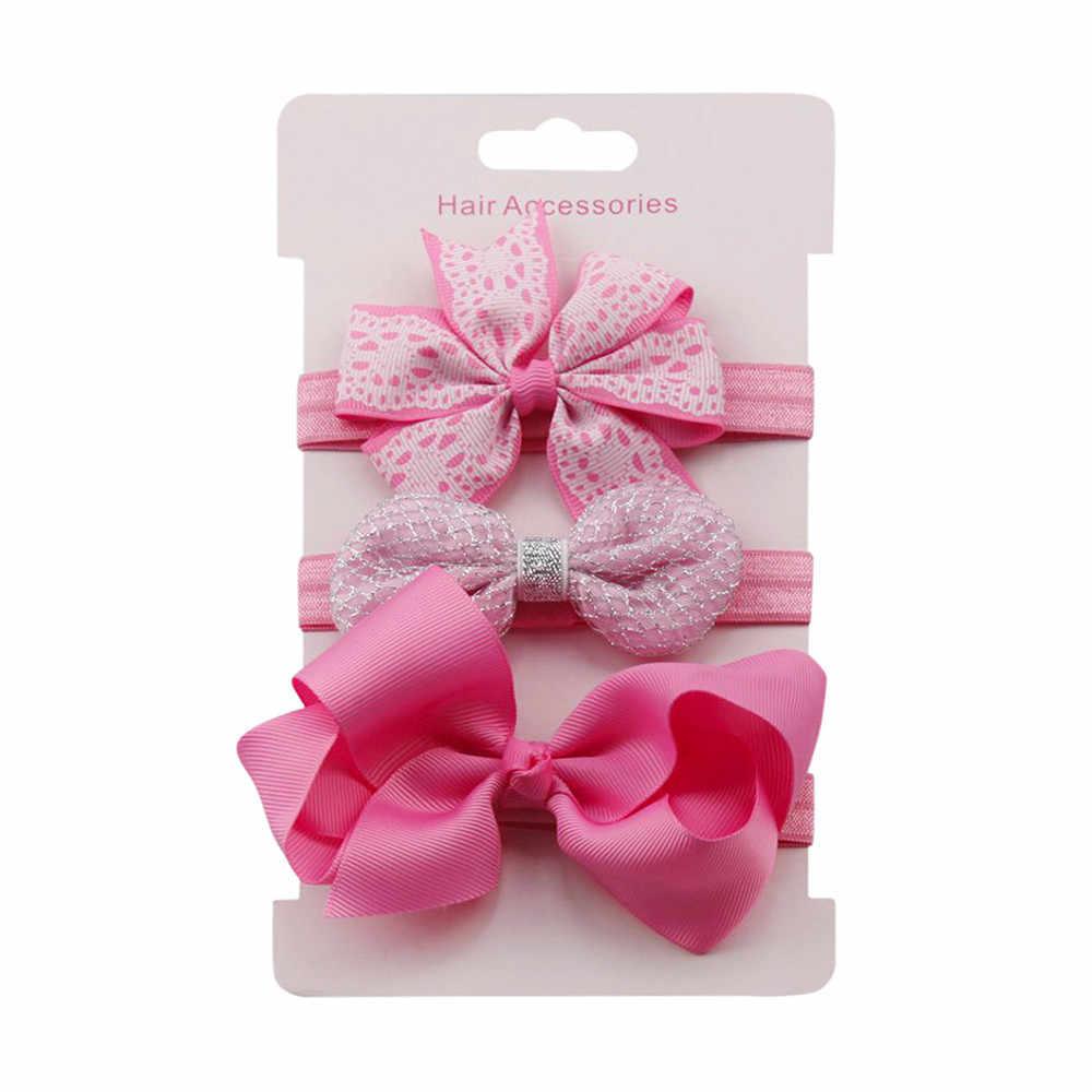 LONSANT 3 unids/set Baby Girl diademas elástico Floral Bowknot banda para el cabello turbante niños Skinny elástico flor Hairband Set