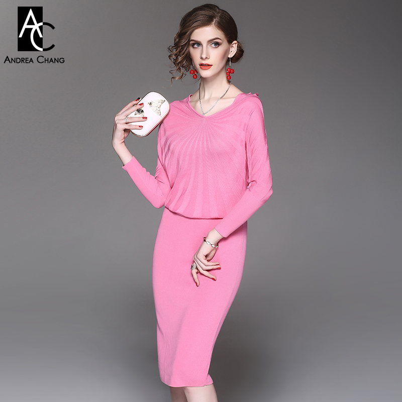 цена spring autumn woman dress black gray pink knee length knitted dress radial strip pattern top batwing sleeve casual slim dress